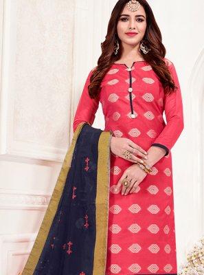 Jacquard Silk Print Churidar Suit