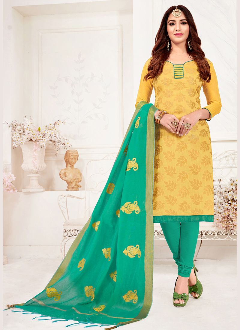 Jacquard Silk Print Churidar Suit in Yellow