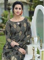 Jacquard Silk Print Multi Colour Designer Gown