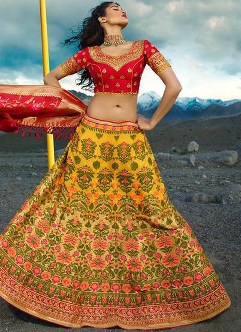 Jacquard Silk Red and Yellow Zari Lehenga Choli
