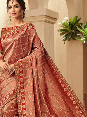 Jacquard Silk Red Trendy Saree