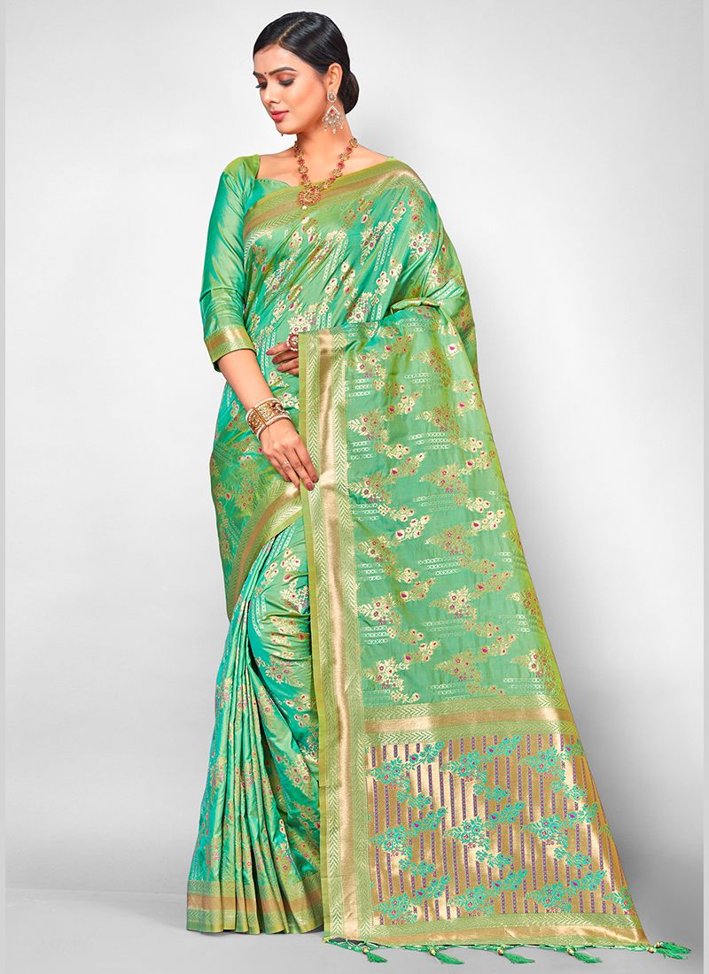 Jacquard Silk Sea Green Traditional Designer Saree