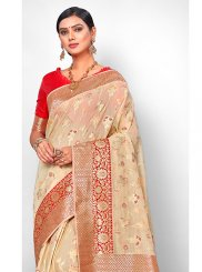 Jacquard Silk Traditional Saree in Beige