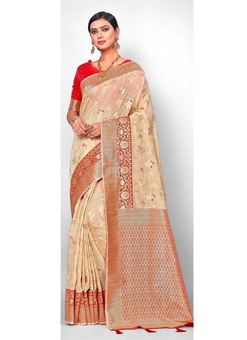 Jacquard Silk Traditional Saree in Beige