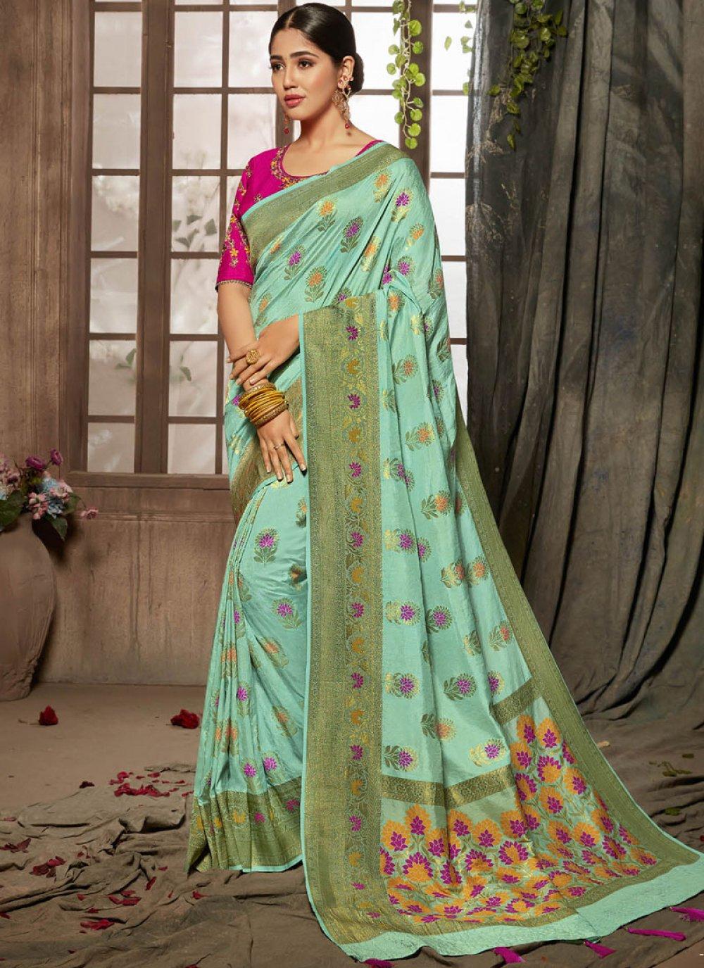 Jacquard Silk Turquoise Designer Traditional Saree