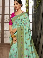 Jacquard Silk Turquoise Designer Traditional Saree
