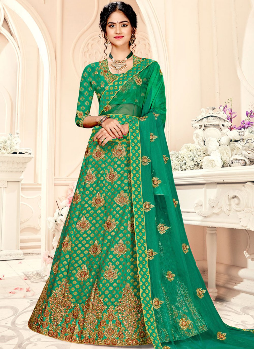 Jacquard Silk Weaving A Line Lehenga Choli