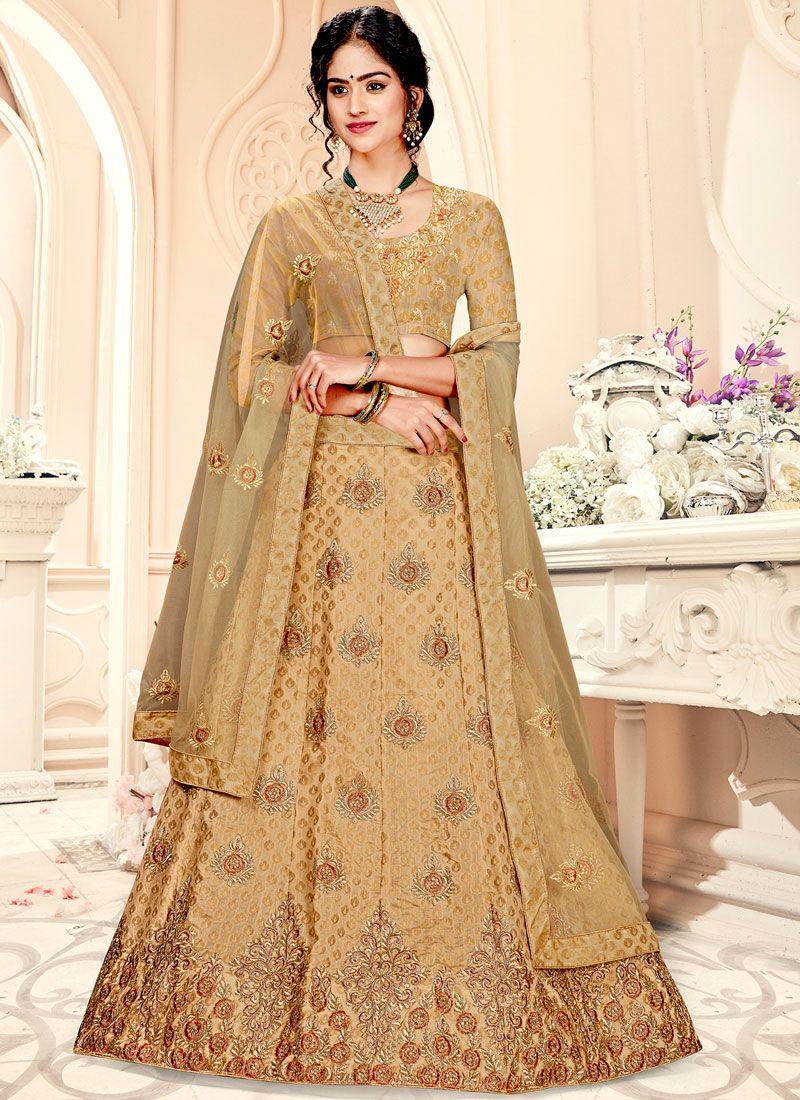 Jacquard Silk Weaving Beige Trendy A Line Lehenga Choli