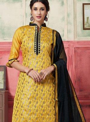 Jacquard Silk Weaving Designer Suit in Yellow