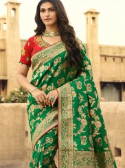 Jacquard Silk Weaving Green Traditional Designer Saree