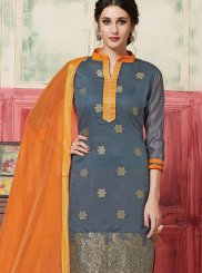 Jacquard Silk Weaving Grey Designer Suit