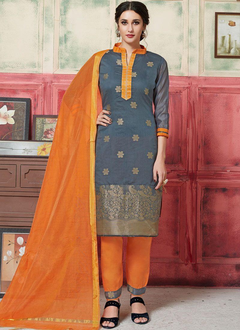 Jacquard Silk Weaving Grey Designer Suit