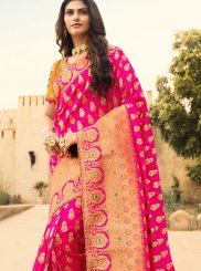 Jacquard Silk Weaving Hot Pink Silk Saree