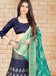 Jacquard Silk Weaving Navy Blue Lehenga Choli