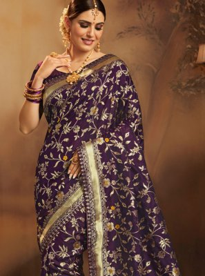 Jacquard Silk Weaving Navy Blue Traditional Saree