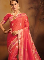 Jacquard Silk Weaving Pink Traditional Designer Saree