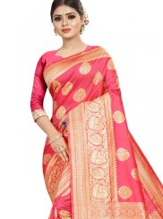 Jacquard Silk Weaving Red Classic Saree