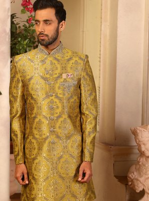 Jacquard Silk Yellow Embroidered Indo Western