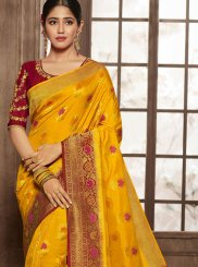 Jacquard Silk Yellow Zari Designer Traditional Saree