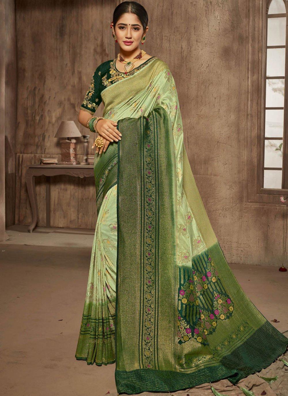Jacquard Silk Zari Designer Traditional Saree in Green