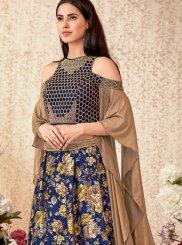 Jacquard Trendy Lehenga Choli in Blue
