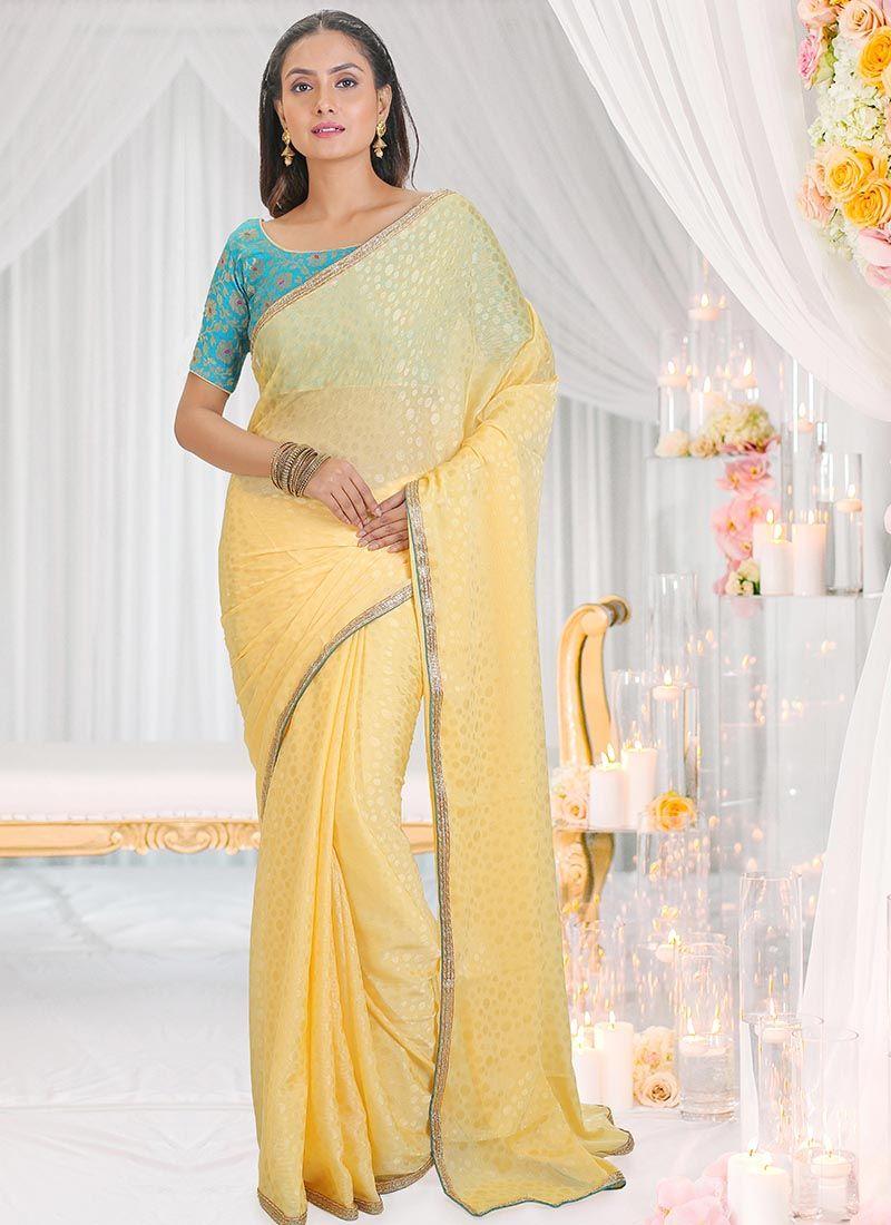 Jacquard Yellow Traditional Saree