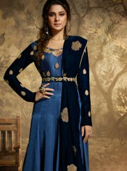 Jennifer Winget Satin Silk Resham Floor Length Anarkali Suit