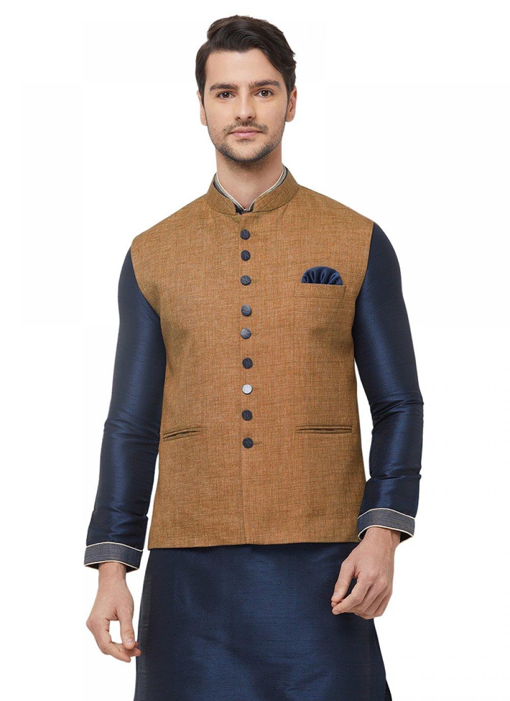Jute Plain Nehru Jackets in Brown