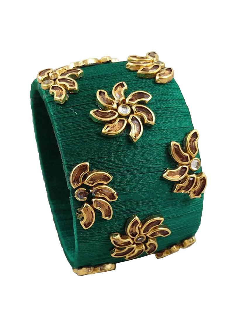Kada Bangles Stone Work in Green