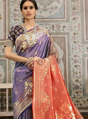 Kanchipuram Silk Lavender and Red Woven Classic Saree