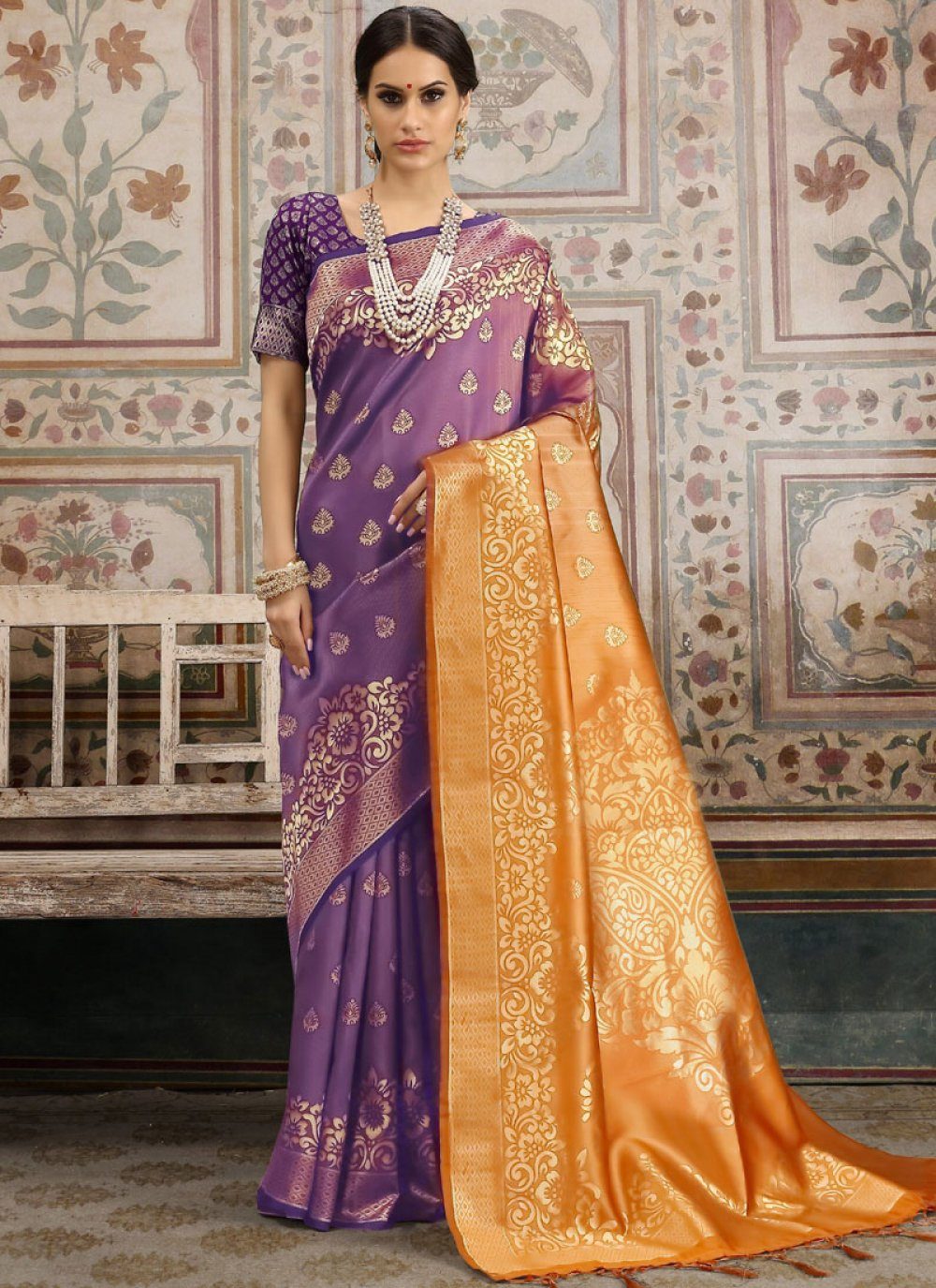 Kanchipuram Silk Orange and Violet Classic Saree
