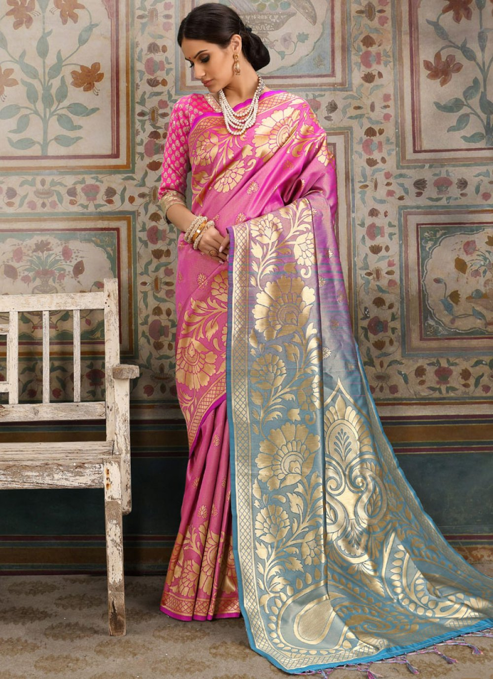 Kanchipuram Silk Pink Classic Saree