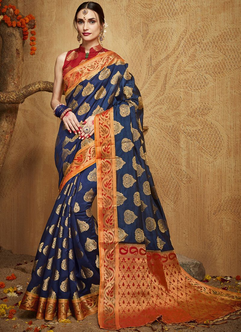09a970b171 Buy Kanchipuram Silk Weaving Blue Designer Traditional Saree Online -