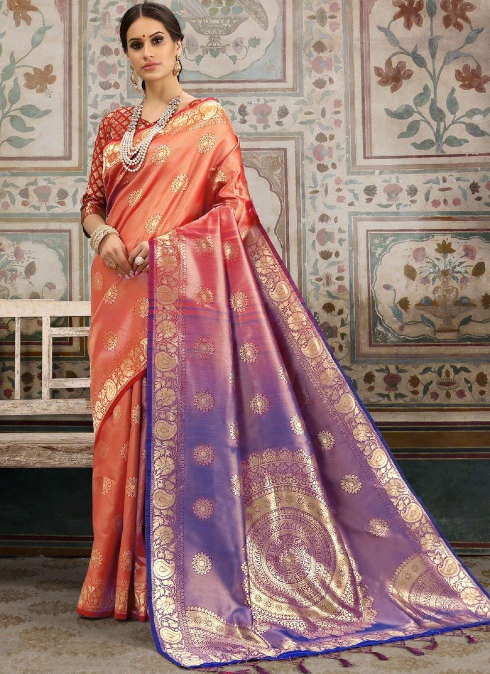 Kanchipuram Silk Woven Classic Saree in Orange