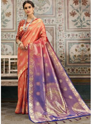 Kanchipuram Silk Woven Classic Saree in Orange