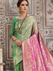 Kanchipuram Silk Woven Green Traditional Saree