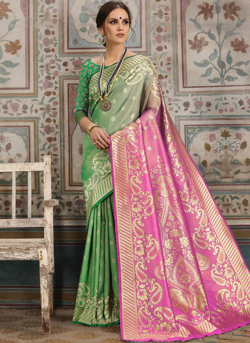 Kanchipuram Silk Woven Green Traditional Saree