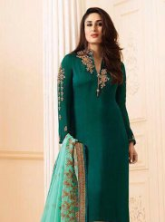 Kareena Kapoor Georgette Green Embroidered Churidar Salwar Kameez
