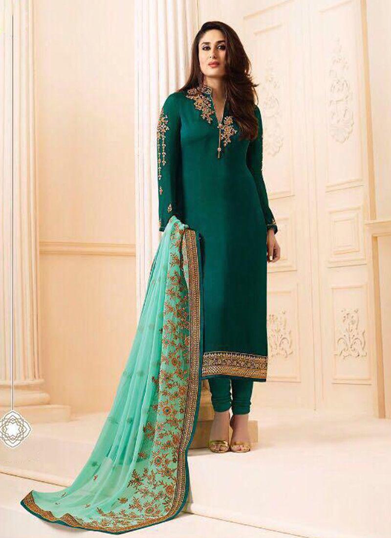 Kareena Kapoor Georgette Green Embroidered Churidar Salwar Kameez