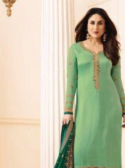 Kareena Kapoor Green Satin Churidar Suit