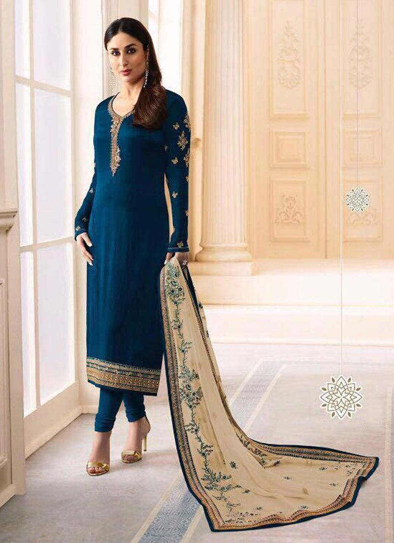 Kareena Kapoor Satin Navy Blue Embroidered Churidar Salwar Suit