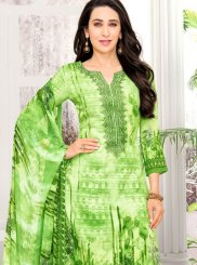 Karishma Kapoor Green Satin Abstract Print Pant Style Suit