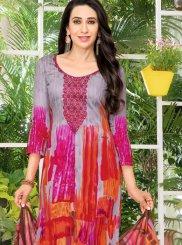 Karishma Kapoor Satin Multi Colour Abstract Print Pant Style Suit