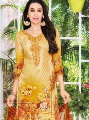 Karishma Kapoor Satin Multi Colour Abstract Print Pant Style Suit
