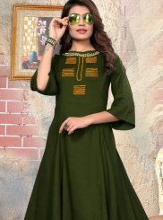 katha Rayon Party Wear Kurti in Green