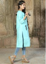 Khadi Blue Party Wear Kurti