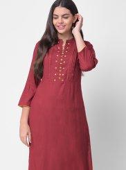 Khadi Embroidered Maroon Designer Kurti