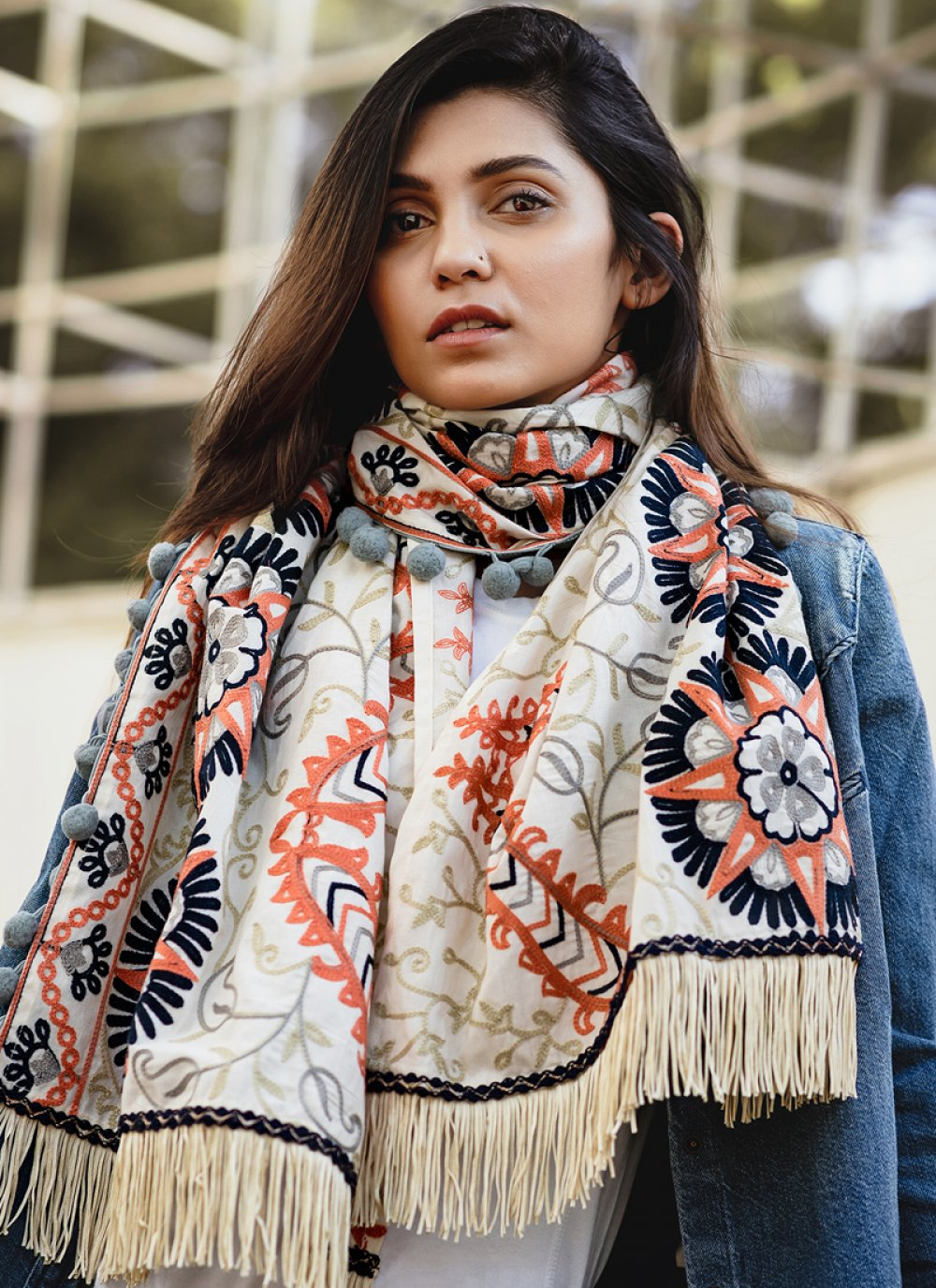 Khadi Embroidered Stole in Off White