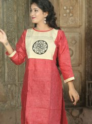 Khadi Hot Pink Print Party Wear Kurti