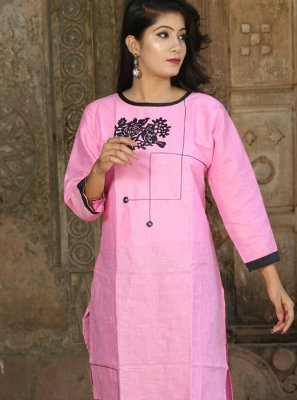 Khadi Pink Party Wear Kurti